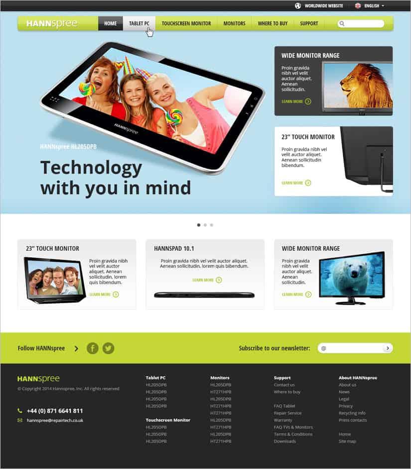 Webové stránky pro Hannspree