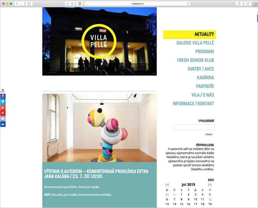 Webové stránky pro Villa Pellé