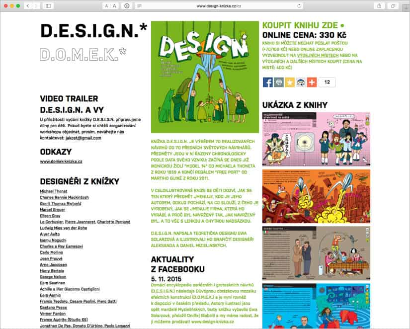 Webové stránky pro D.E.S.I.G.N. a D.O.M.E.K. knížka